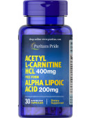 Acetyl L-Carnitine HCL 400 mg Free Form Alpha Lipoic Acid 200 mg (30 капс.)