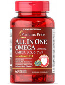 Puritan's Pride All in One Omega- 3.5.6.7.and 9 Plus D3 (60 капс)
